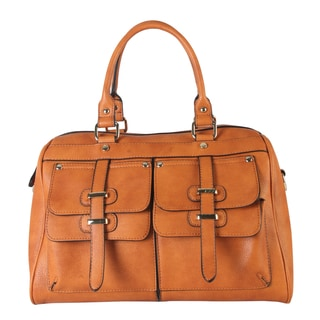 Rimen & Co. PU Leather Top Handle Zipper-closure Casual Satchel Handbag