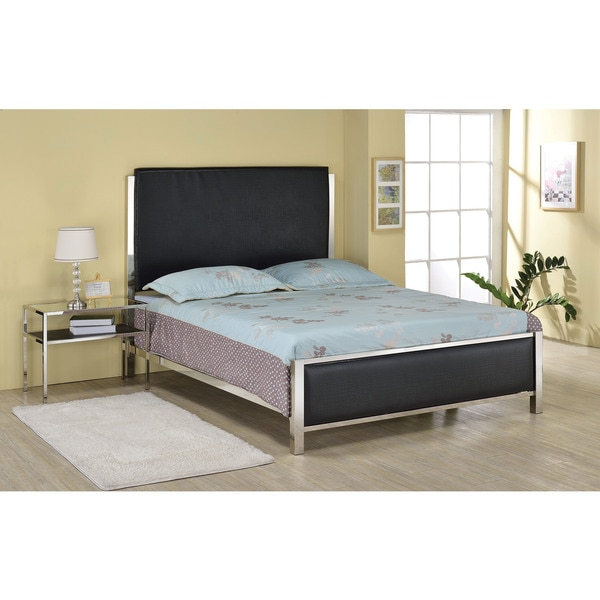 Johanna Black Faux-crocodile PU Leather and Nickel Queen Bed