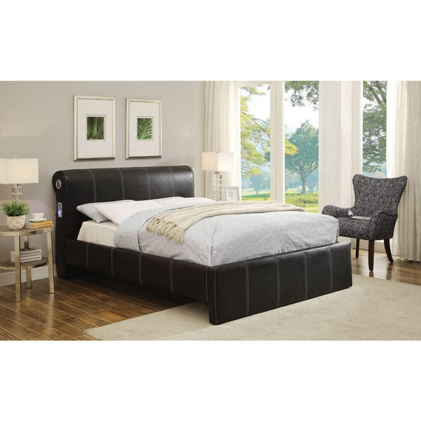 Israel Black Faux Leather 96-inch x 66-inch x 44-inch Queen Bed Set
