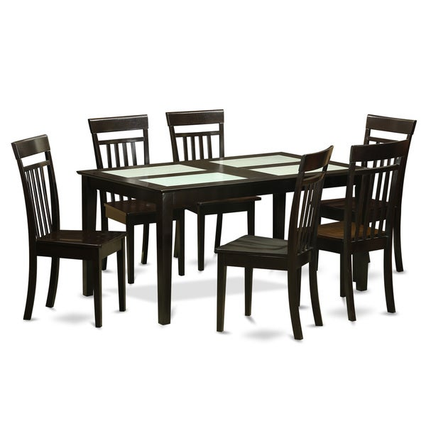 Cappuccino Finish Rubberwood 7-piece Dining Room Set with Glass Top Dining Table, and 6 Chairs