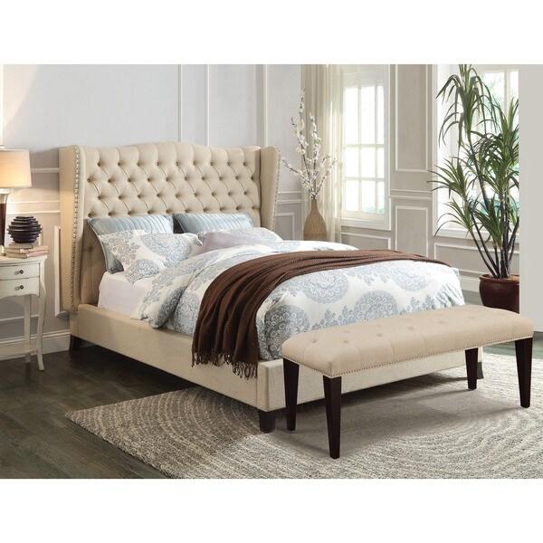 Faye Beige/Espresso Eastern King-size Linen Bed