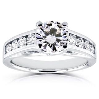 Annello 14k White Gold 1ct Forever Brilliant Moissanite and 1/2ct TDW Diamond Engagement Ring (H-I, I1-I2)