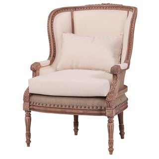 Bramble Co. Carved Cream/ Driftwood French Wing Chair