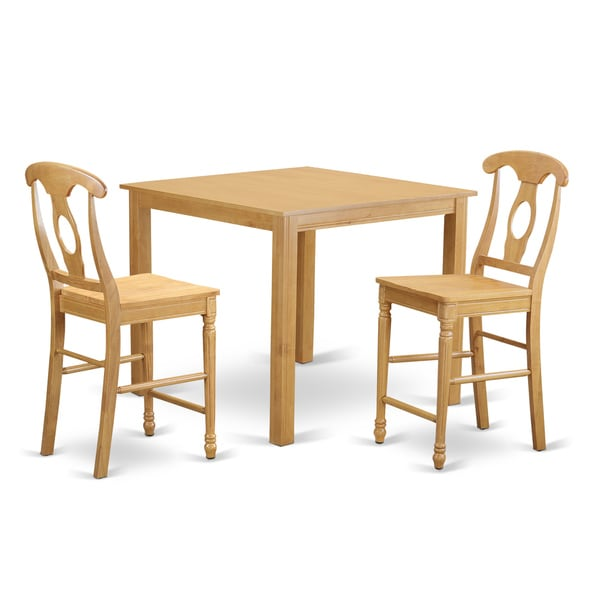 Oak Finish Rubberwood 3-piece Dining Room Pub Set with Table and 2 Chairs