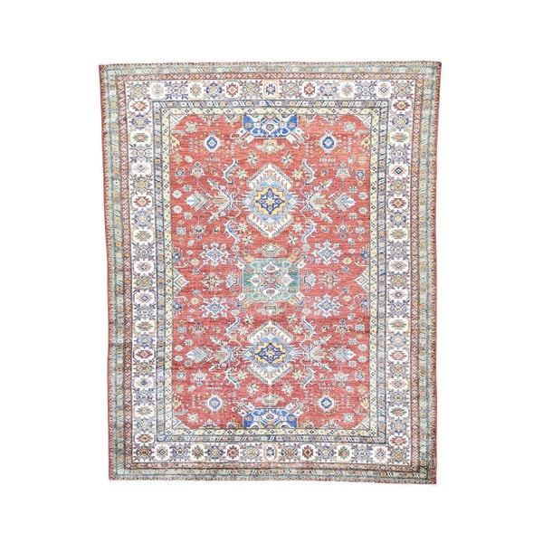 Wool Handmade Geometric Design Super Kazak Rug (8'1 x 10'3) 19235775