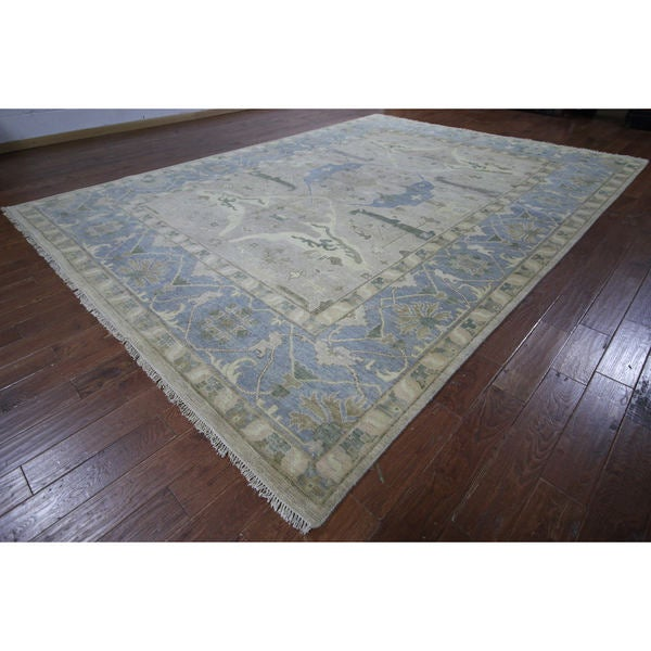 Oushak Ivory Wool Hand-knotted Oriental Rug (10'1 x 13'11)