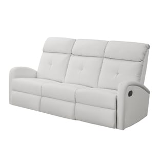 Monarch White Bonded Leather Reclining Sofa