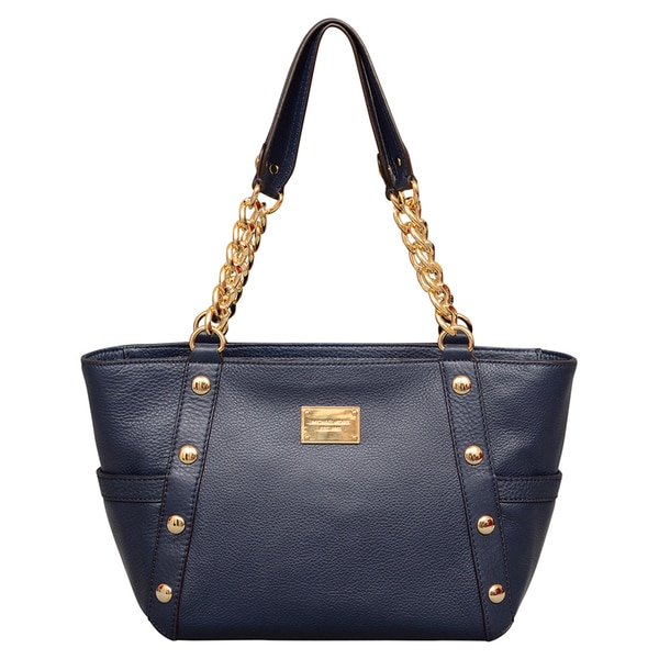 Michael Kors Medium Delancy Navy Shoulder Tote Bag