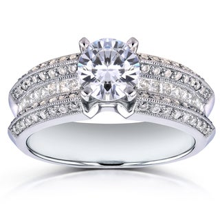 Annello 14k White Gold Certified 1 5/8ct TDW Round Diamond Wide Multi-row Engagement Ring (G-H, SI1-SI2)
