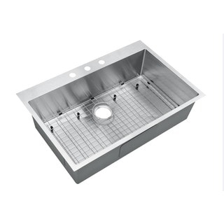 Starstar 16-gauge Stainless Steel 30-inch x 22-inch x 9-inch Top-mount Drop-in Single Bowl Kitchen Sink with Accessories