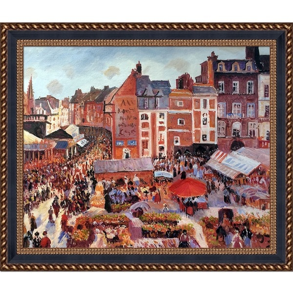 Camille Pissarro 'Fair on a Sunny Afternoon' Hand Painted Framed Canvas Art
