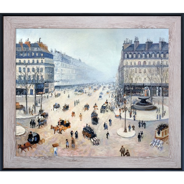 Camille Pissarro 'Avenue de l'Opera, Place du Theatre Francais Misty' Hand Painted Framed Canvas Art