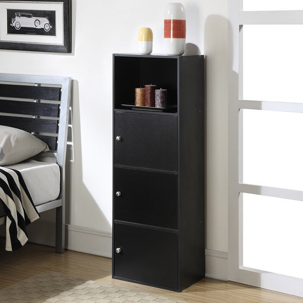 Convenience Concepts Designs2Go Xtra Black Wood 3-door Storage Cabinet
