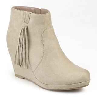 Journee Collection Women's 'Ela' Round Toe Tassle Wedge Boots