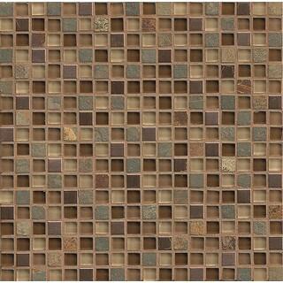 Bedrosians Elume Chestnut Glass/Stone Tiles (Pack of 10 Sheets)