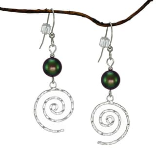 Jewelry by Dawn Iridescent Green Hammered Swirl Sterling Silver Earrings