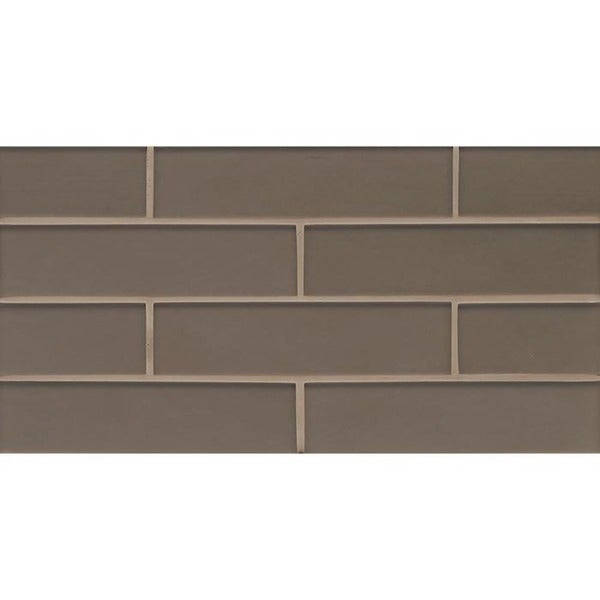 Bedrosians Manhattan Collection Matte Ash Glass 8-inch x 16-inch Tile (Box of 10 Sheets)