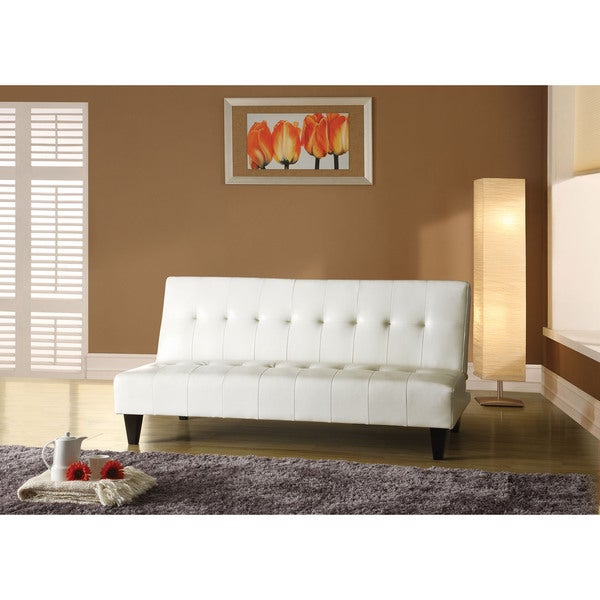 Conrad White Polyurethane/Wood/Foam Adjustable Sofa