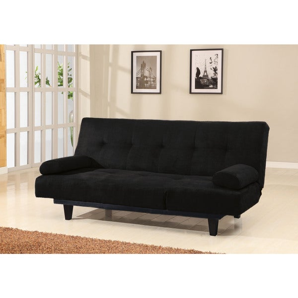 Cybil Black Faux Leather, Foam, Wood Adjustable Sofa