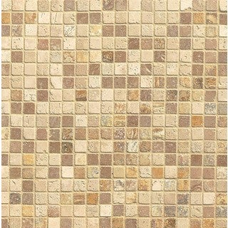 Bedrosians Mosaic Blend Square Tumbled Tan Stone Tiles (Pack of 10 Sheets)