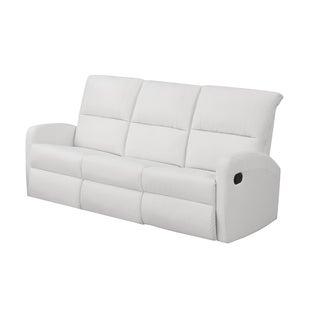 White Bonded Leather Reclining Sofa