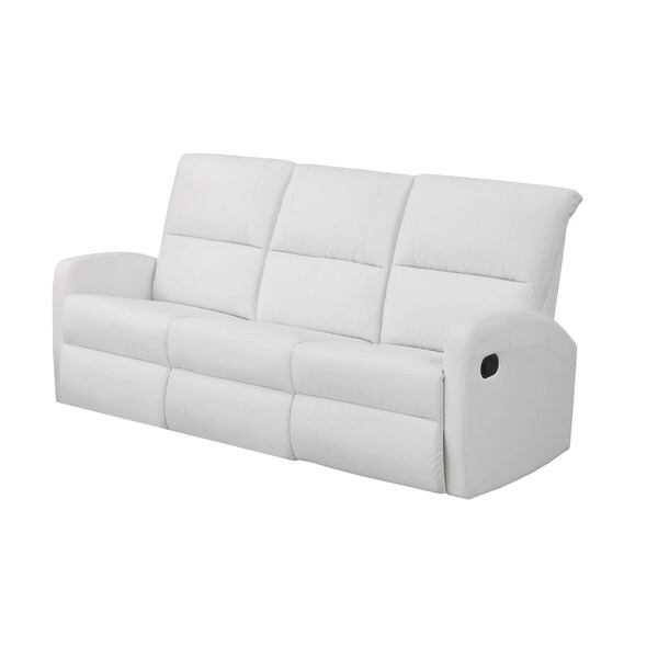 White Bonded Leather Reclining Sofa