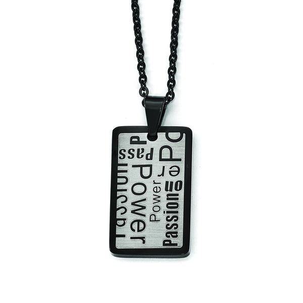 Versil Black, White Stainless Steel Power, Passion Pendant Necklace