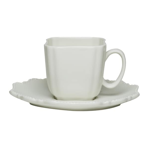 Red Vanilla Pinpoint White 6-ounce Teacup and Saucer (Set of 6) 19242505