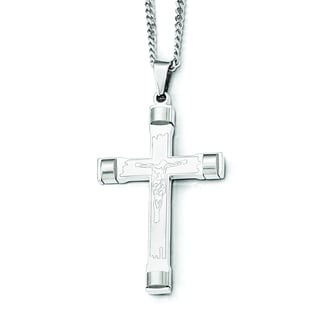 Versil Chisel White Stainless Steel 22-inch Brushed and Polished Cross Necklace