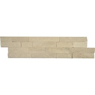 Split-face Ledger White Stone Tile (Box of 5 Tiles)