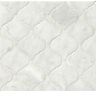 Bedrosians White Carrara Arabesque Mosaic Honed Stone Tile (Box of 10 Sheets)