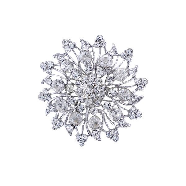 5016 Silver Rhinestone Brooch