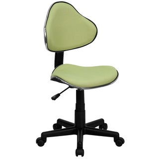 Art Deco Green Fabric Adjustable Armless Swivel Office Chair