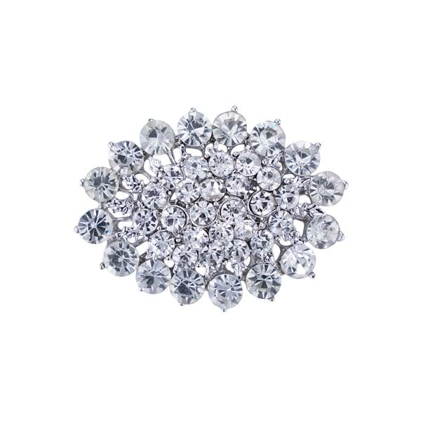 Silver-plated Rhinestone Brooch