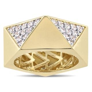 Versace 19.69 Abbigliamento Sportivo SRL Men's White Sapphire Openwork Ring in 18k Yellow Gold Plated Sterling Silver
