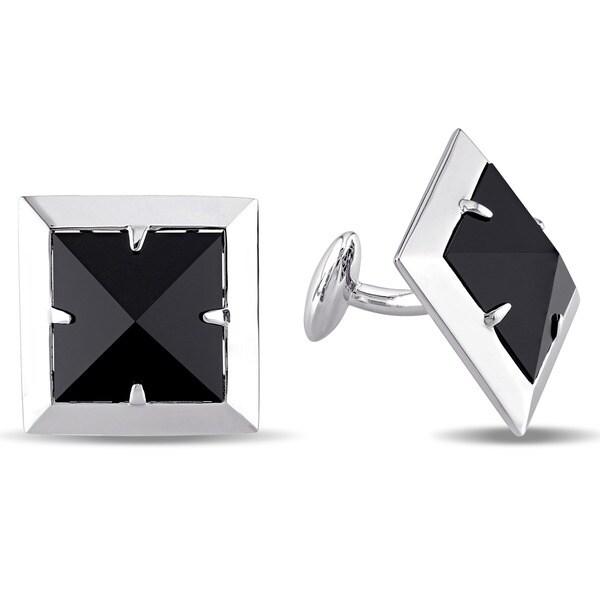 Miadora Sterling Silver Black Onyx Pyramid Cufflinks