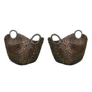 BirdRock Home Hyacinth Espresso Handwoven Rattan Laundry Baskets (Set of 2)