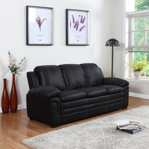 Classic Bonded Leather Living Room Sofa with White Stitch Accent