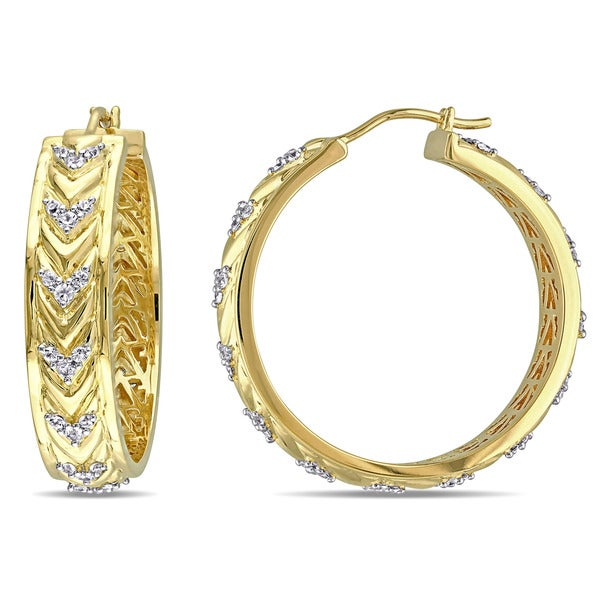 Miadora 18k Yellow Gold Plated Sterling Silver White Sapphire Zig Zag Hoop Earrings