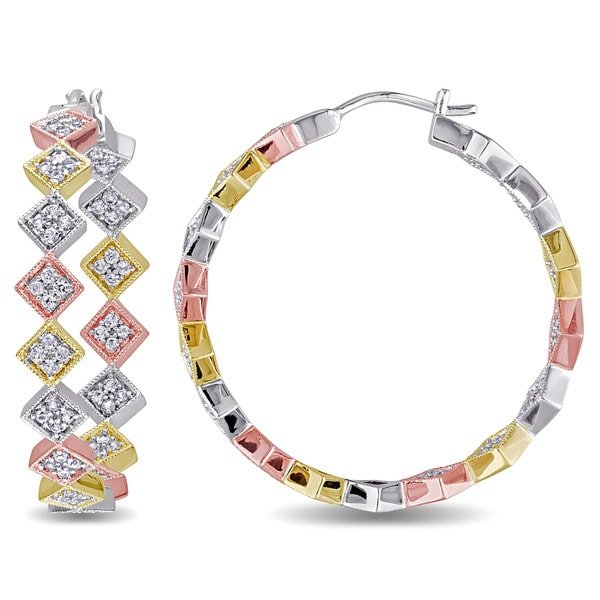 Miadora Tri-color White Yellow and Rose Plated Sterling Silver White Sapphire Zig Zag Hoop Earrings