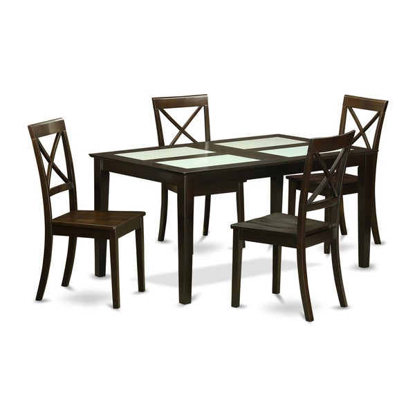 Modern Black Finish Solid Rubberwood 5-piece Dining Set with Capri Table and 4 Dining Chairs