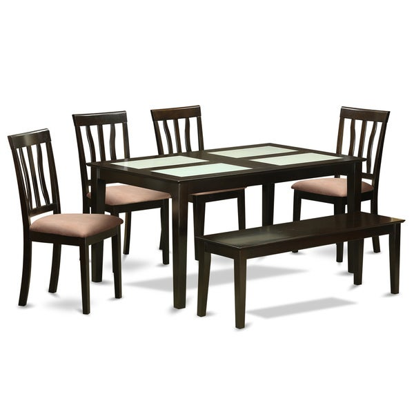 Cappucino 6-piece Dining Room Set with Glass Top Dining Table, 4 Chairs, and 1 Bench