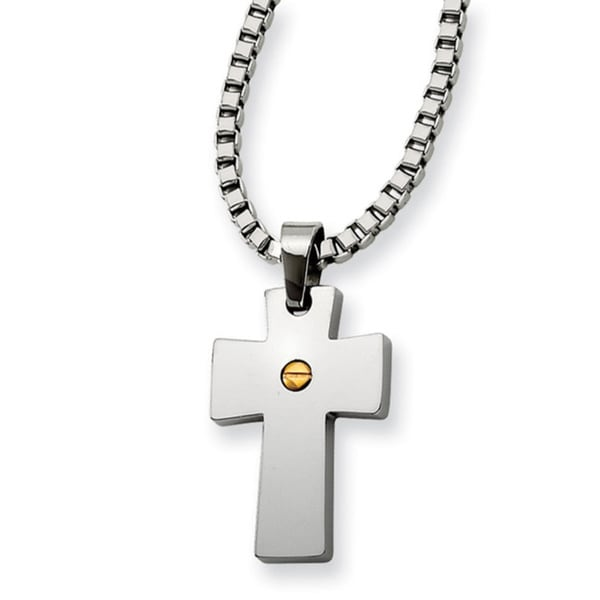 Versil Chisel Stainless Steel Gold IP-plated Cross Pendant Necklace