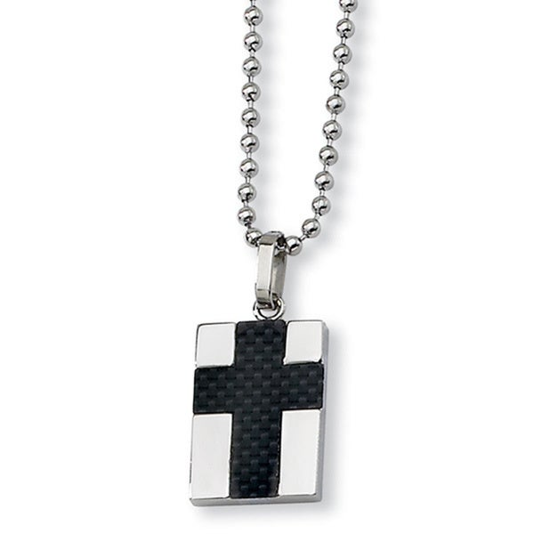 Versil Chisel Men's Stainless Steel Carbon Fiber 22-inch Cross Necklace