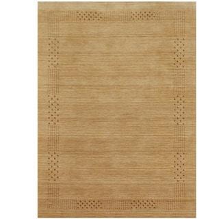 Herat Oriental Indo Hand-loomed Tribal Gabbeh Beige Wool Rug (6'6 x 9')