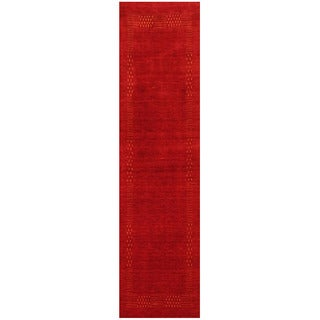 Herat Oriental Indo Hand-loomed Tribal Gabbeh Red Wool Runner (2'7 x 10)