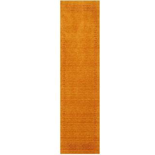 Herat Oriental Indo Hand-loomed Tribal Gabbeh Gold Wool Runner (2'7 x 10)
