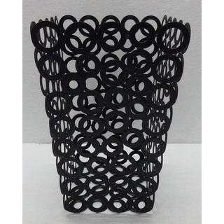 Red Vanilla Black Metal Rings 6.25-inch x 9.75-inch Waste Bins (Set of 2)