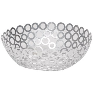 Red Vanilla Silver Metal 12.5-inch x 4-inch Round Centerpiece Ring Bowls (Set of 2)