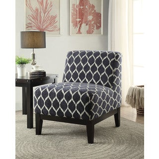 Dark Blue Chenille Hinte Accent Chair